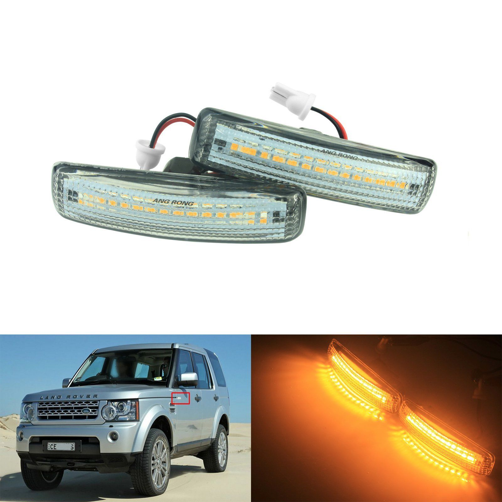 2x 24 Led Rear Bumper Reflector Parking Brake Running Turning Light Land Rover Discovery 3 Handbrake Wiring Diagram Angrong Amber Side Repeater Indicator Lights For 4 Freelander