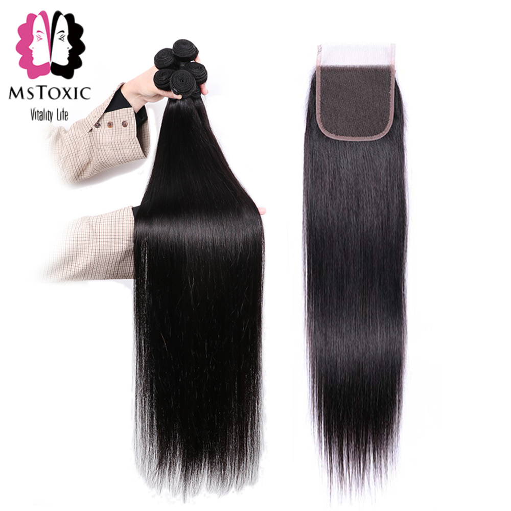 Mstoxic Hair-Bundles Closure Remy-Hair Straight 30inch-32 Brazilian with 30inch-32/34/36-38-40inch/Long