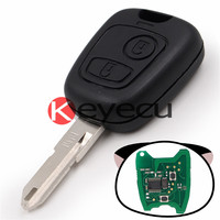 Keyecu KYDZ Keyless Entry Remote Key Fob 2 Button 433MHz With Chip ID46 + Uncut Blank Blade for PEUGEOT 206