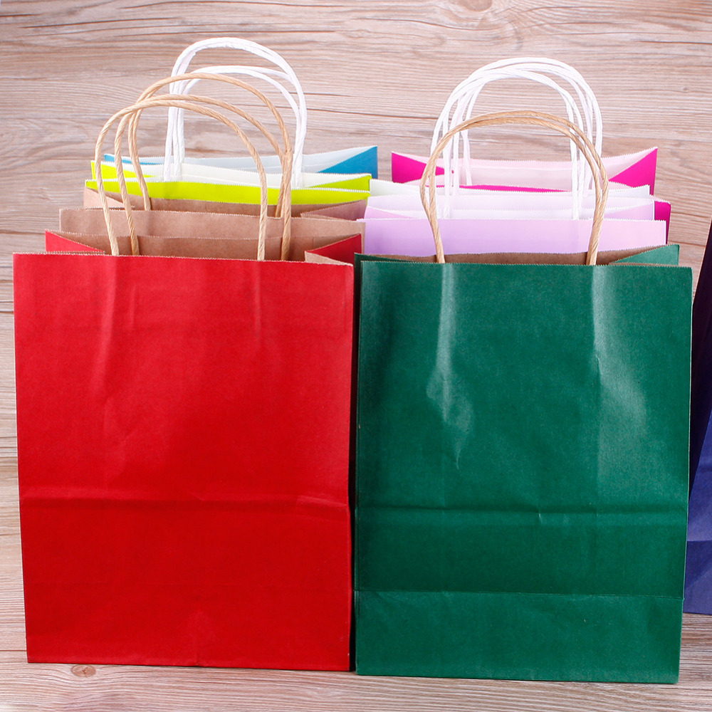 Fashionable jewellery bags Polka Dot kraft paper gift bag 21*15*8cm NEW Year children Festival Paper bag with handles 10PCS/lot