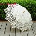 Vintage blanco/Marfil Bordado Del Cordón de Battenburg Algodón Paraguas Paraguas Sombrilla Paraguas Nupcial de La Boda Decoración Envío Gratis