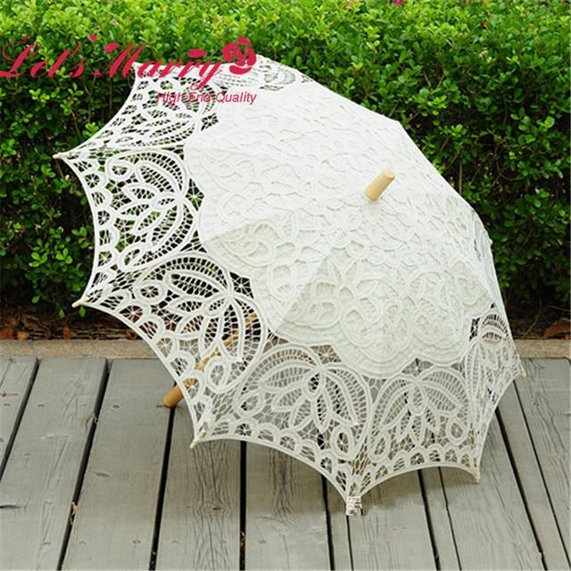 Vintage white/Ivory Lace Embroidery Umbrella Cotton Battenburg Wedding Bridal Umbrella Parasol Umbrella Decoration Free Shipping