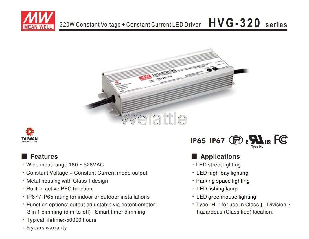 MEAN WELL original HVG-320-48A 48V 6.7A meanwell HVG-320 48V 321.6W Single Output LED Driver Power Supply A type 1mean well original hvg 100 48a 48v 2a meanwell hvg 100 48v 96w single output led driver power supply a type