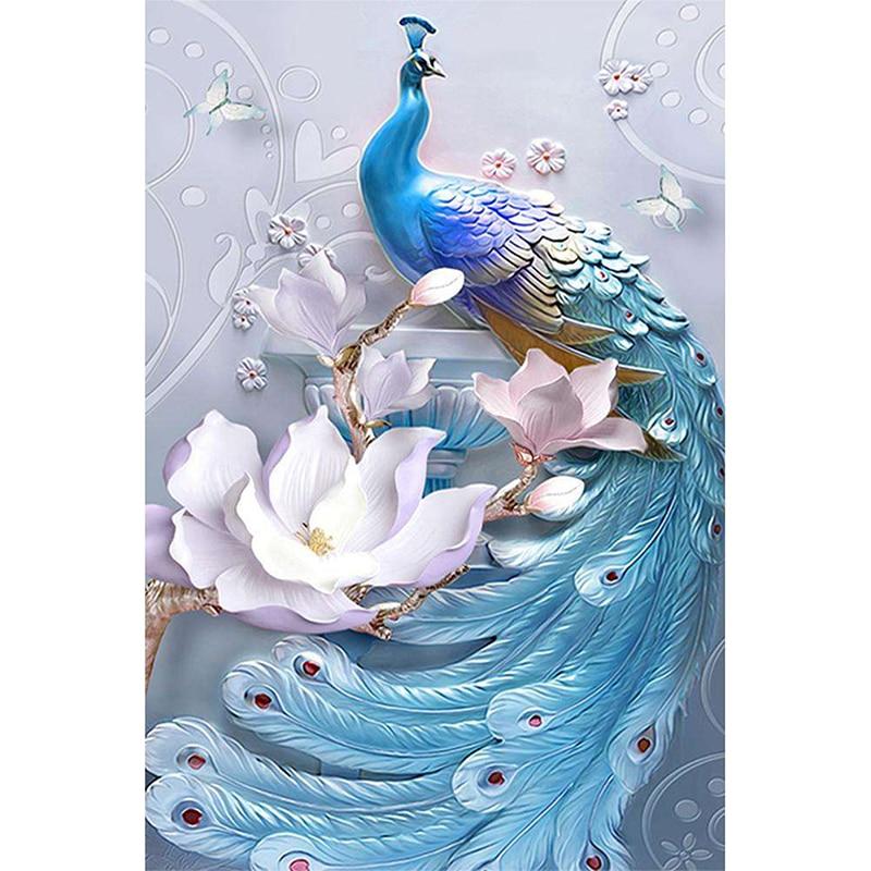 DIY Diamond Embroidery Lotus With Peacock,5D Diamond Painting,Cross Stitch,3D,Diamond Mosaic,Needlework,Crafts,Christmas,Gift