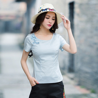 New Embroidery T shirts 2018 Summer Tops Butterfly Short Sleeve Casual Tees Vintage Ethnic Style Plus Size Women Tshirts