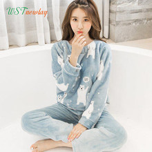 Female Pajamas Set Polyester Full Trousers Lady Two Piece Warm Thickness Flannel Winter Women's Home Clothing(China)