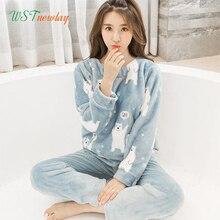 Female Pajamas Set Polyester Full Trousers Lady Two Piece Wa
