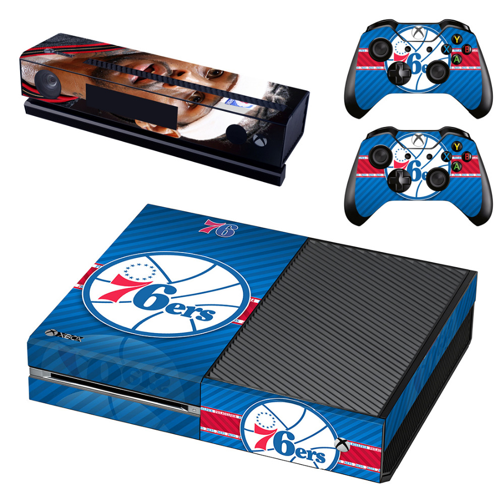 Philadelphia 76ers Allen Iverson Skin Sticker for Microsoft Xbox One Kinect and Console and 2 Controllers Vinyl Game Stickers