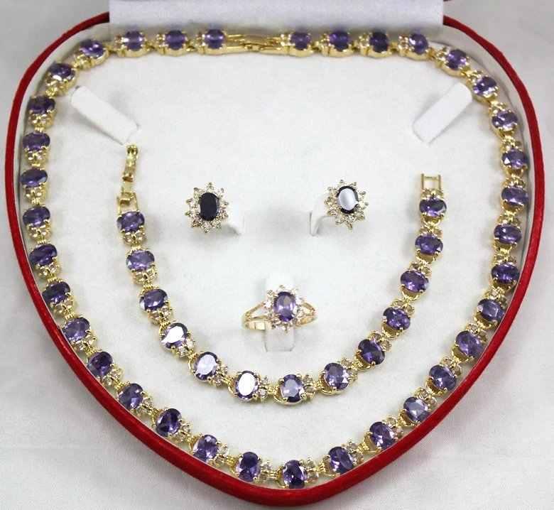 Atacado gargantilha conjuntos de jóias para mulheres anime pedra de quartzo gemas feminino presente vermelho zircão gem brinco pulseira anel