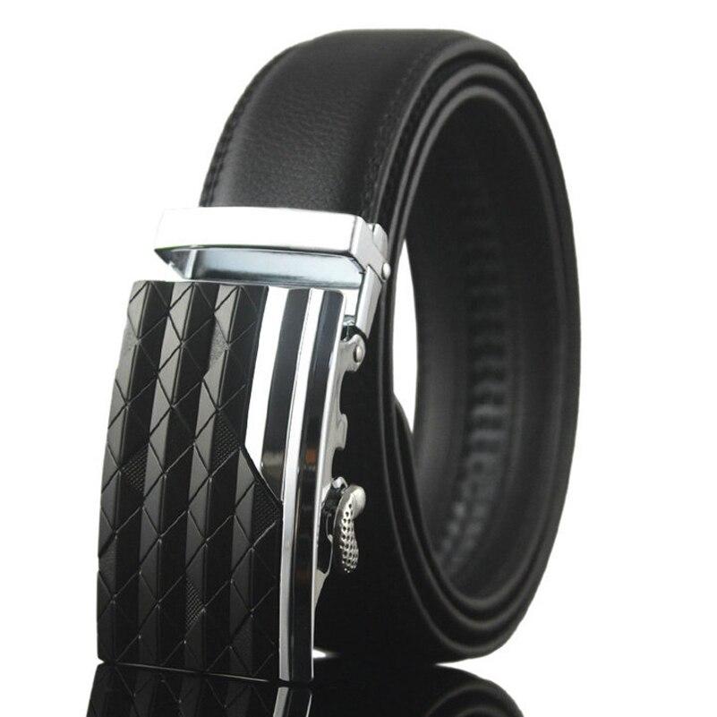 Black Brown 38-54 Genuine Leather Ratchet Belts for Men with Automatic Buckle Designer Waist Straps Big Jeans Cowskin Belt