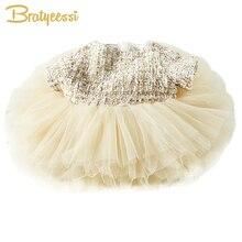 Fashion Formal Baby Mädchen Kleid Sommer Ballkleid Baby Mädchen Party Kleid A-Line Champagner Prinzessin 1 Jahr Tutu Geburtstagskleid