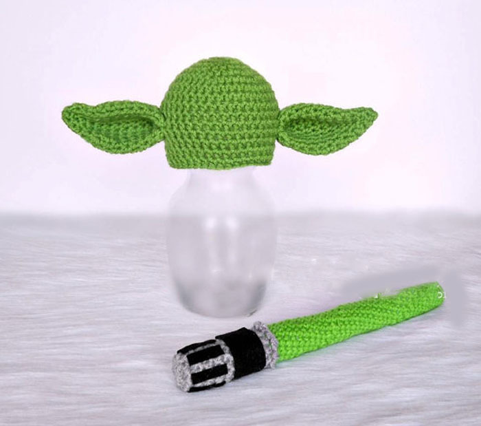 Crochet Baby Yoda Hat And Lightsaber Set Newborn 0 3 3 6 Months