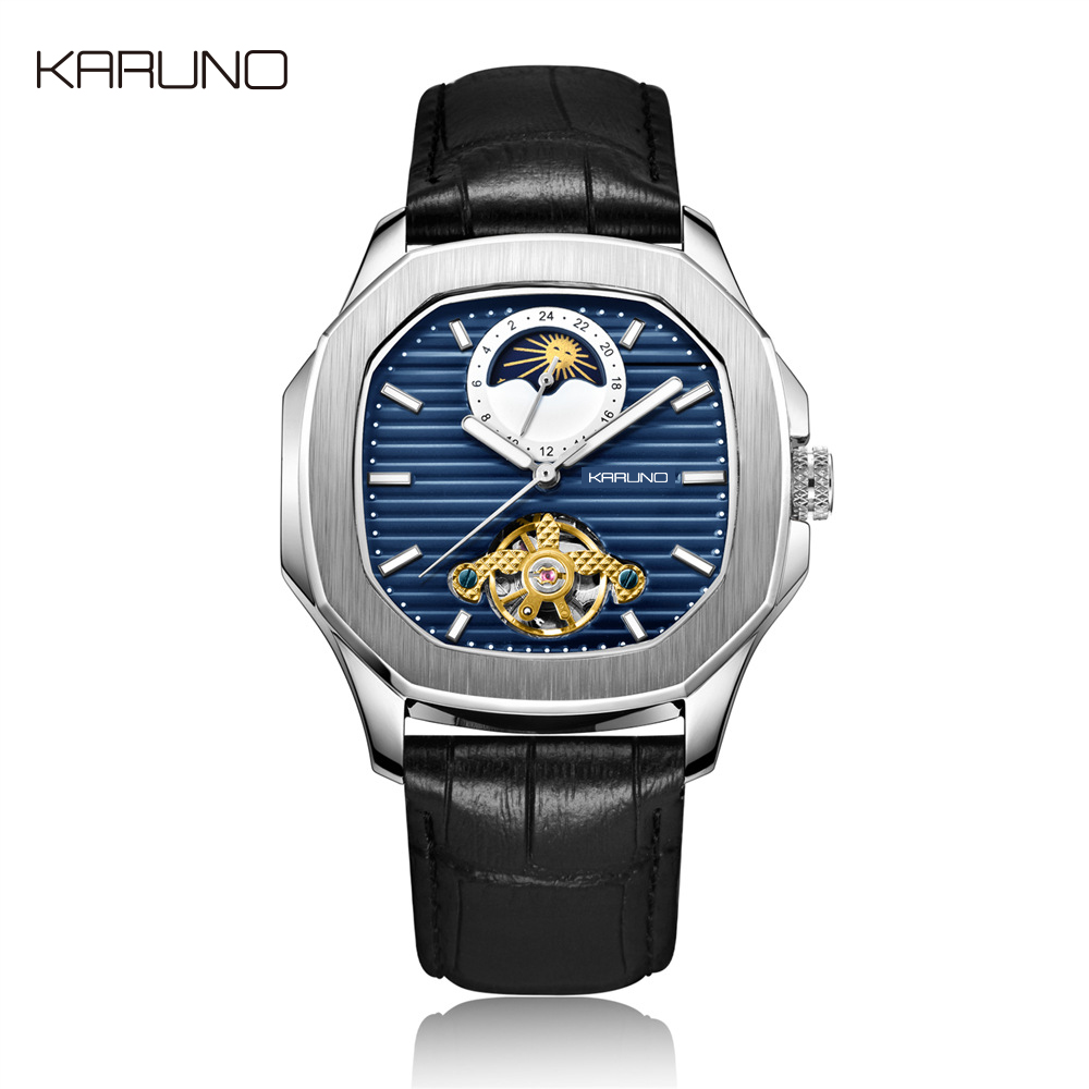 KARUNO Man Watch Mechanical Watch For Men Fashion Automatic Watch Men Moon Phase Square Leather Watches Tourbillon Wristwatch