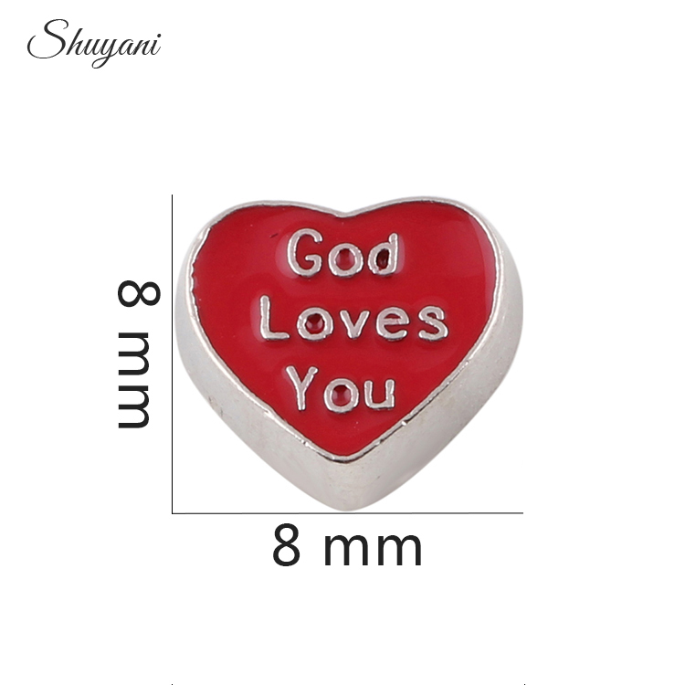 20pcs/lot New Arrival Red Enamel Word God Loves You Heart Floating Locket Charms for Living Glass Locket DIY Jewelry