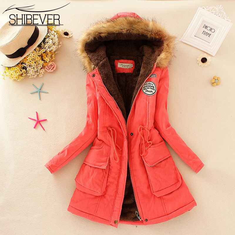 SHIBEVER 13 Colors Warm Women Winter Coat Cotton Hooded Neck Long Parkas Women Jacket Ladies Casual Coats Woman Clothing LJT142