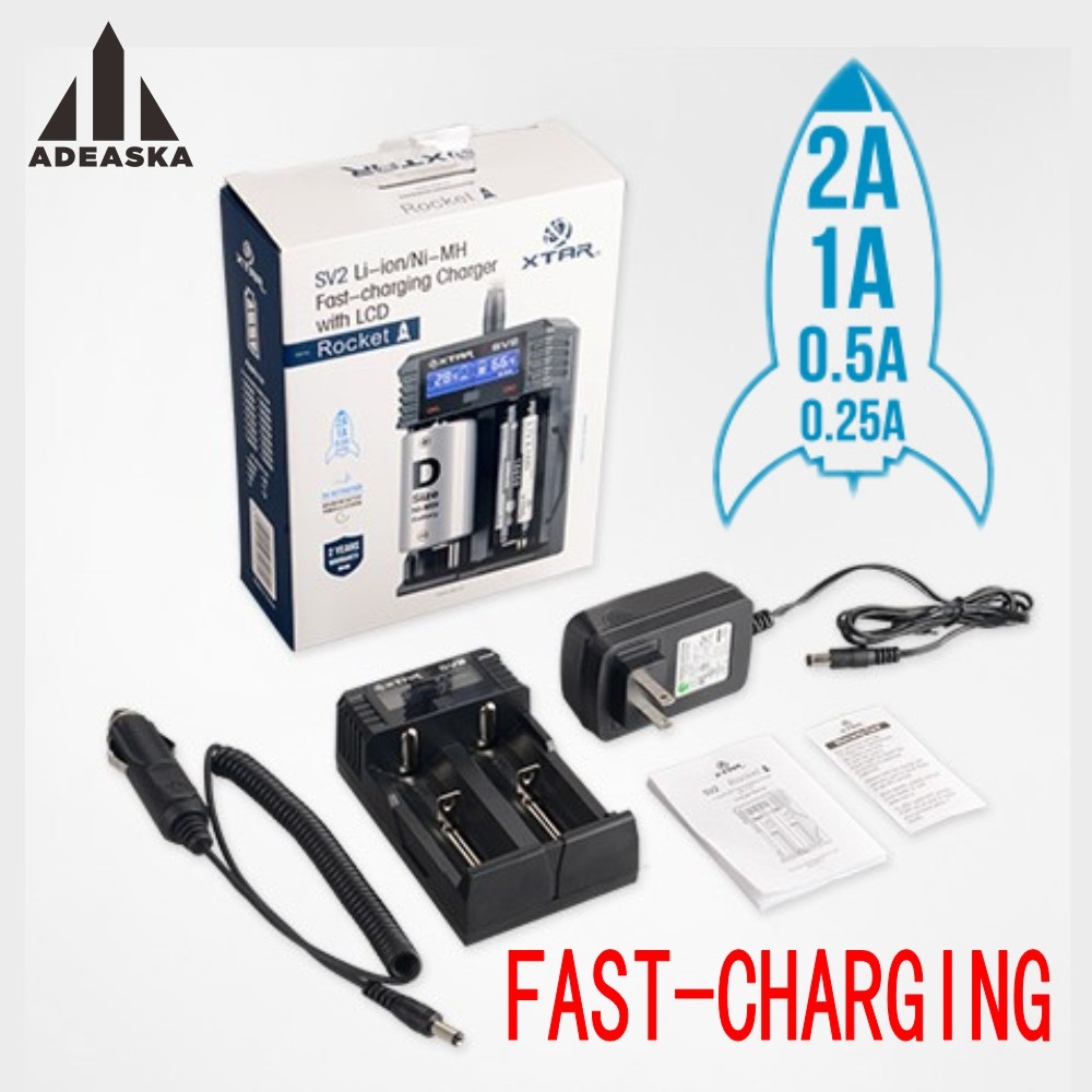 XTAR SV2 Smart Digital Battery Charger Li-ion Ni-MH 16340 18650 26650 10440 14500 14650 17335 17500 17670 18350 18500 AA AAA C D