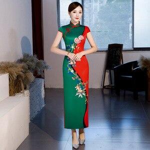 Image 4 - Hot Sale Traditional Chinese Women Long Dress Summer New Silk Satin Qipao Sexy Slim Printed Cheongsam Plus Size M L XL XXL XXXL