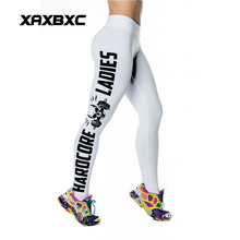 HOT 9109 sexy girl women letter skull hardcore ladies pro athlete 3D prints workout elastic fitness Leggings pants plus size