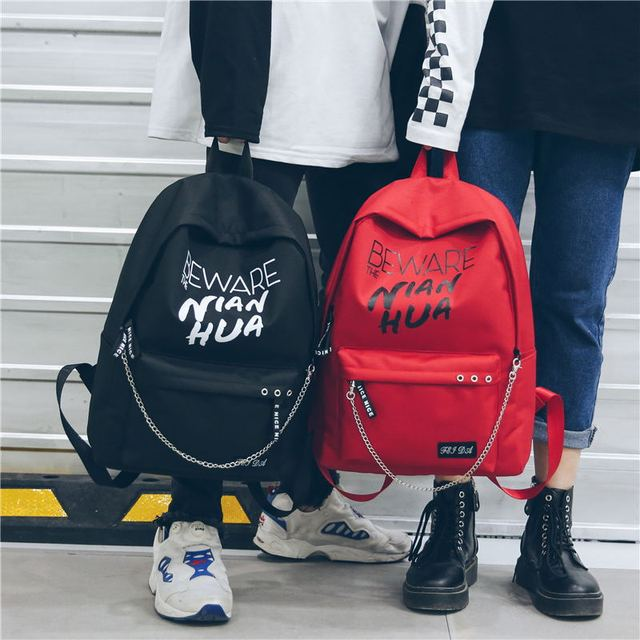 Trend Women Backpack Korea Style Female College Students Back Pack Large Capacity Letter Pattern Printing Girls Knapsack