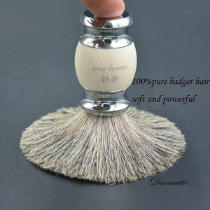 Image 3 - vintage hand crafted pure Badger Hair with Resin Handle  metal base  Shaving Brush for  mens grooming kit
