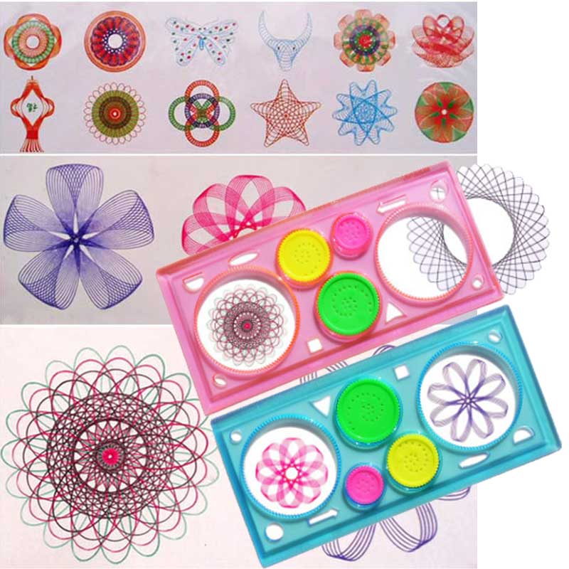 Children Learning Art Tool Painting Multi-function Puzzle Spirograph Geometric Ruler Drafting Tools For Students Drawing Toys