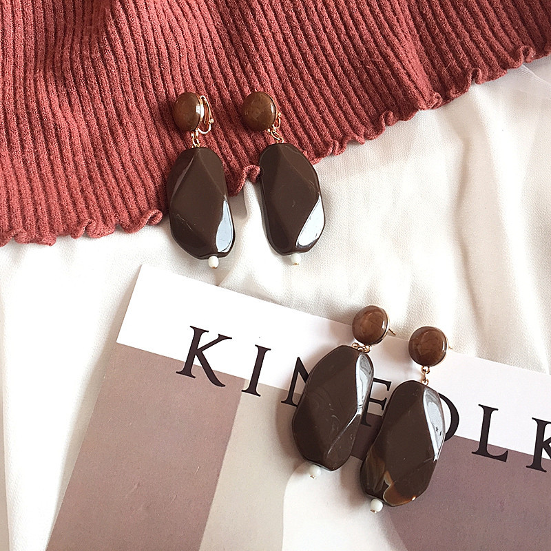 Free Shipping Geometric Acrylic Beads Brown Color Earring