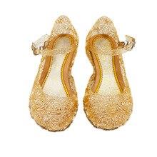 3ba434657 جديد الصيف الثلوج و الجليد أحذية Frozenaisha حذاء من الكريستال سندريلا فتاة الأميرة  الأحذية childrenshoes(