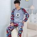 Anime pijamas de los hombres de invierno engrosamiento de terciopelo de coral de invierno de la cachemira traje de felpa hombres pijamas pijama masculino flanellen pijama conjunto
