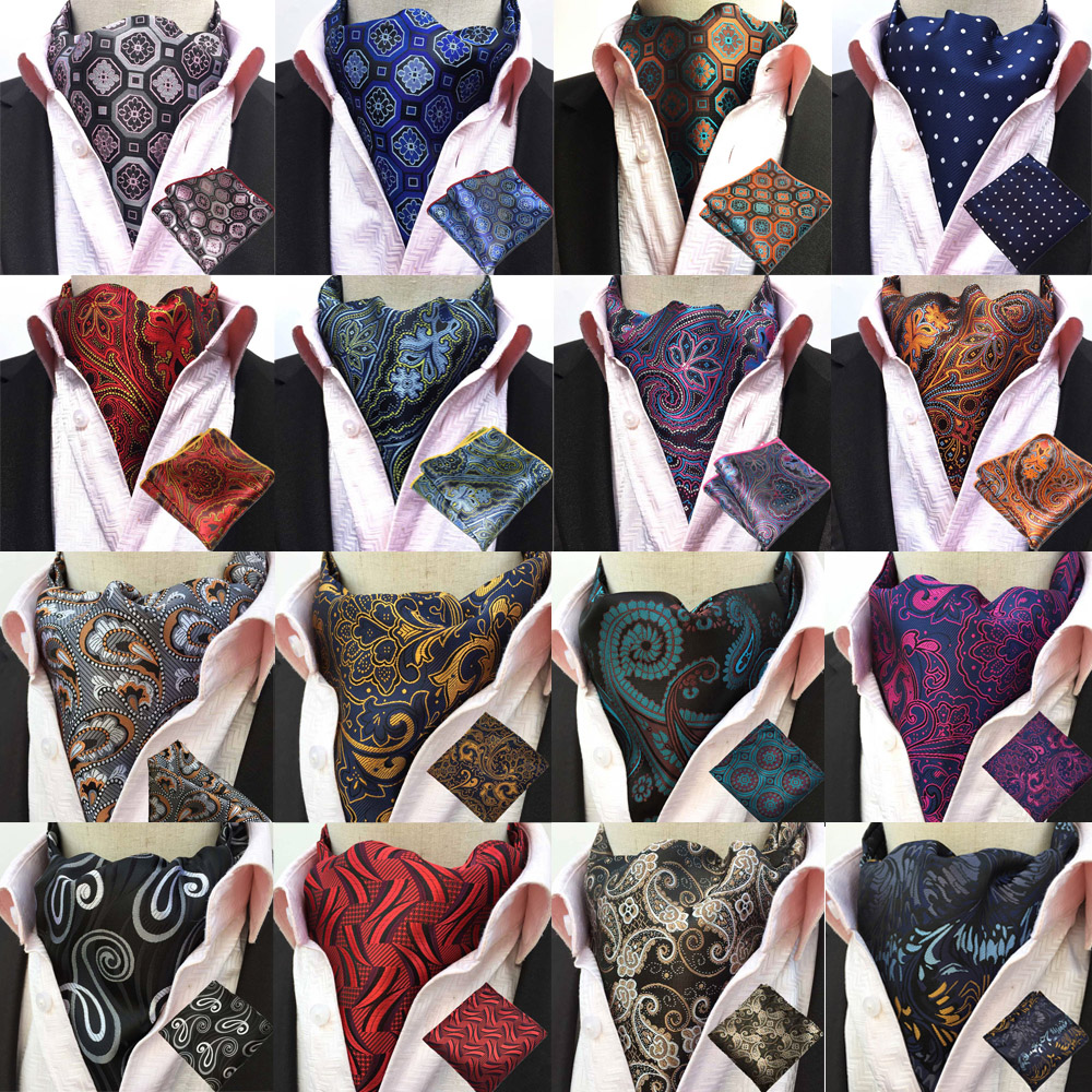 Men Paisley Silk Cravat Ascot Necktie Handkerchief Pocket Square Set Lot BWTHZ0238