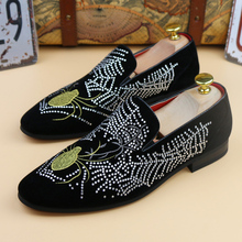 new 2017 men fashion velvet loafers nubuck genuine leather rhinestone flat casual shoes driving mocassins party shoes plus size