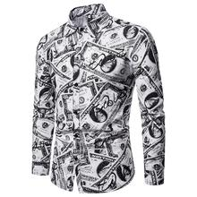 Dollar Pattern Mens Long sleeve Shirt Casual Dress Shirts Blouse Clothing Slim fit