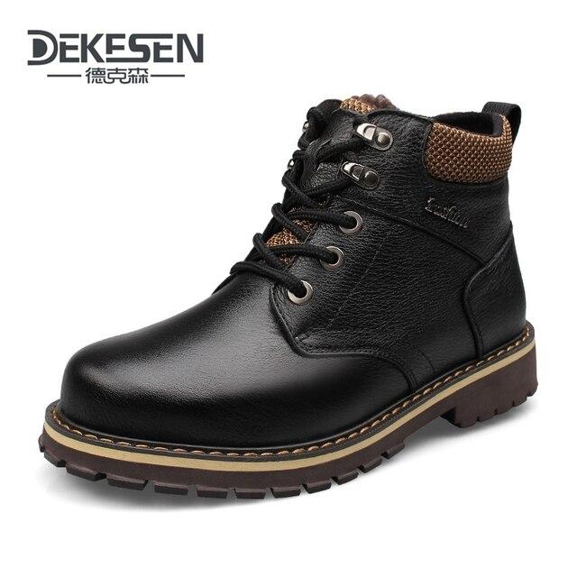 DEKESEN Размер 45 Полное зерно кожа Русский стиль Ручной Работы обувь мех снег сапоги мужчины зимние теплые сапоги, Ботильоны для мужчин обувь