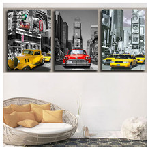 5d DIY square/round Diamond Painting New york/london Taxi Car Full rhinestones 5D Mosaic diamond embroidery art Landscape 3pcs(China)