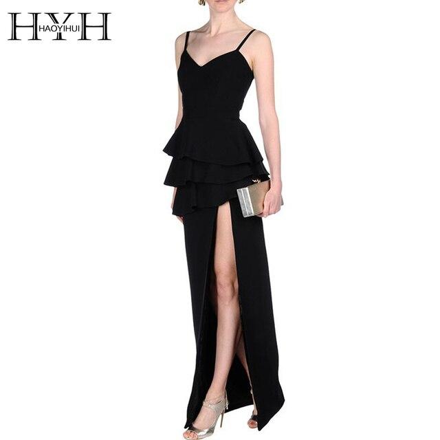 HYH HAOYIHUI 2017 Новый Осенняя Мода Женщины Длинные Вечернее Dress Элегантный Плиссированные Сексуальная Спинки Split Strap Dress