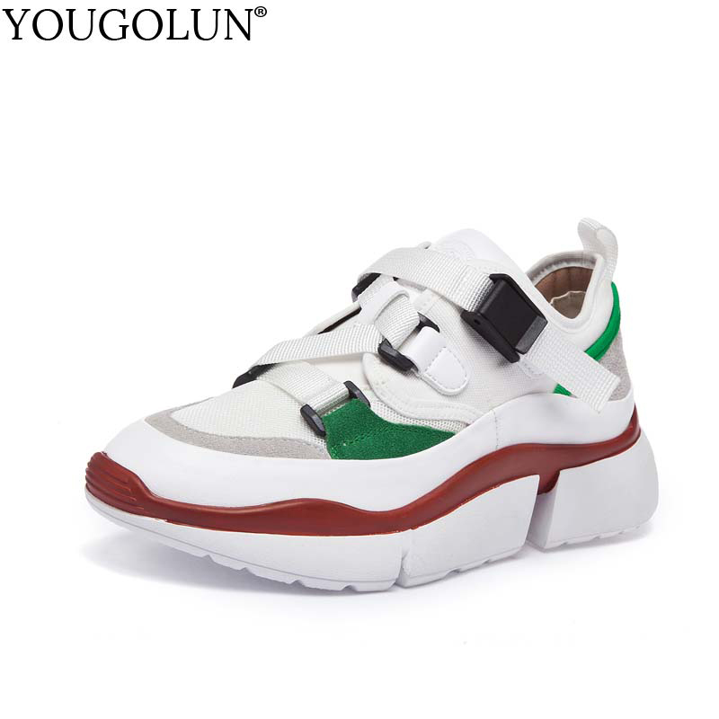 YOUGOLUN Women Casual Shoes 2018 New Genuine Leather Autumn Ladies Buckle Round toe Sneakers Mixed Colors Woman Platform Flats asumer white spring autumn women shoes round toe ladies genuine leather flats shoes casual sneakers single shoes