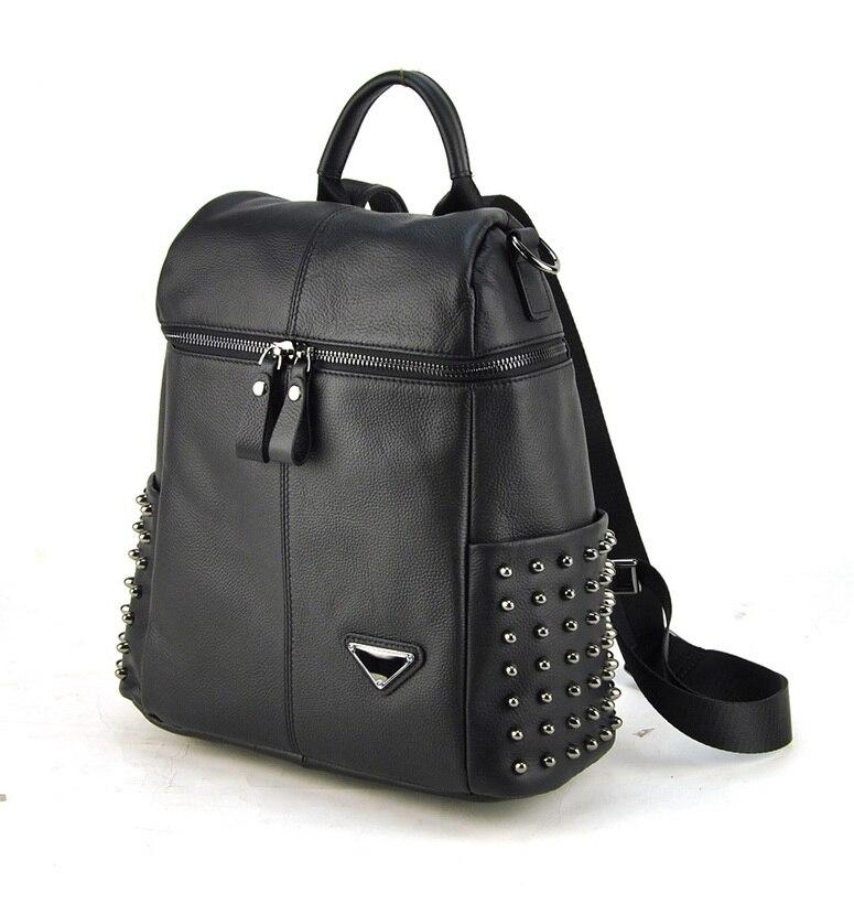 Femmes véritable cuir véritable sac à dos Punk goujons sacs à bandoulière mode dame sac à main école livre sac quotidien décontracté marque Designer