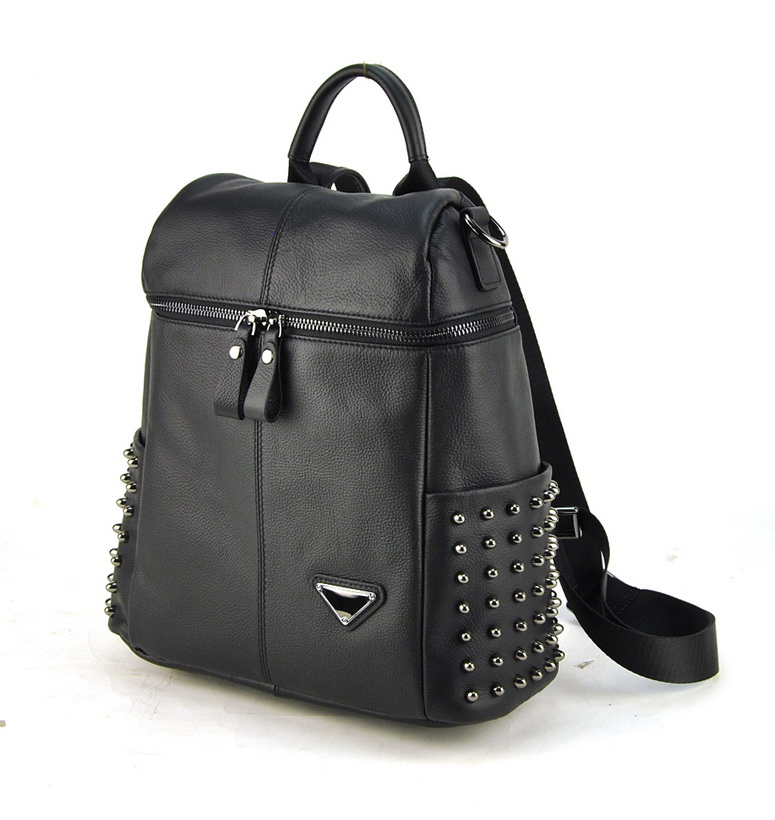 Women Genuine Real Leather Backpack Punk Studs Shoulder Bags Fashion Lady Purse School Book Bag Daily Casual Brand Designer australian gold hardcore black 30x 250 мл