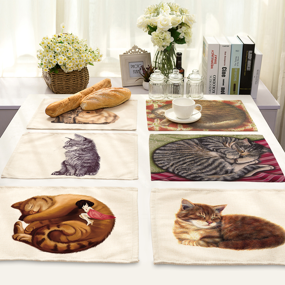 Lovely 42*32cm cat Printing Cotton Linen Napkin Table Cloth Placemat Home Restaurant Wedding Napkin Washable Placemats MA0070