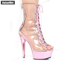 цены jialuowei New Transparent Pink Boots Summer 15CM Extreme High Heels Clear Lace-up Zip Peep Toe Platform PVC Women Ankle Boots