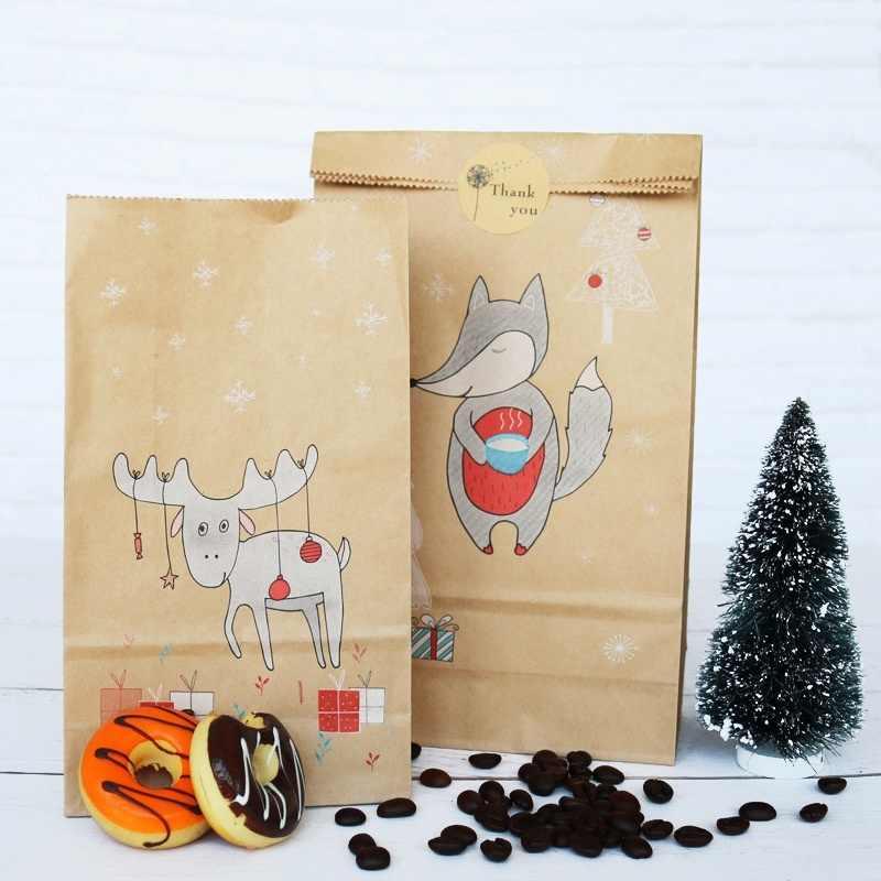 12 teile/satz Neue Kraft Papier Backen Tasche für Weihnachten Süßigkeiten Snacks Papier Taschen Geschenk Taschen