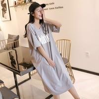 Women Long Nightgowns Girls Cotton Letter Print Loose Nightwear Summer Grey Sleepwear Short Sleeve Sexy Large Size Sleepshirts