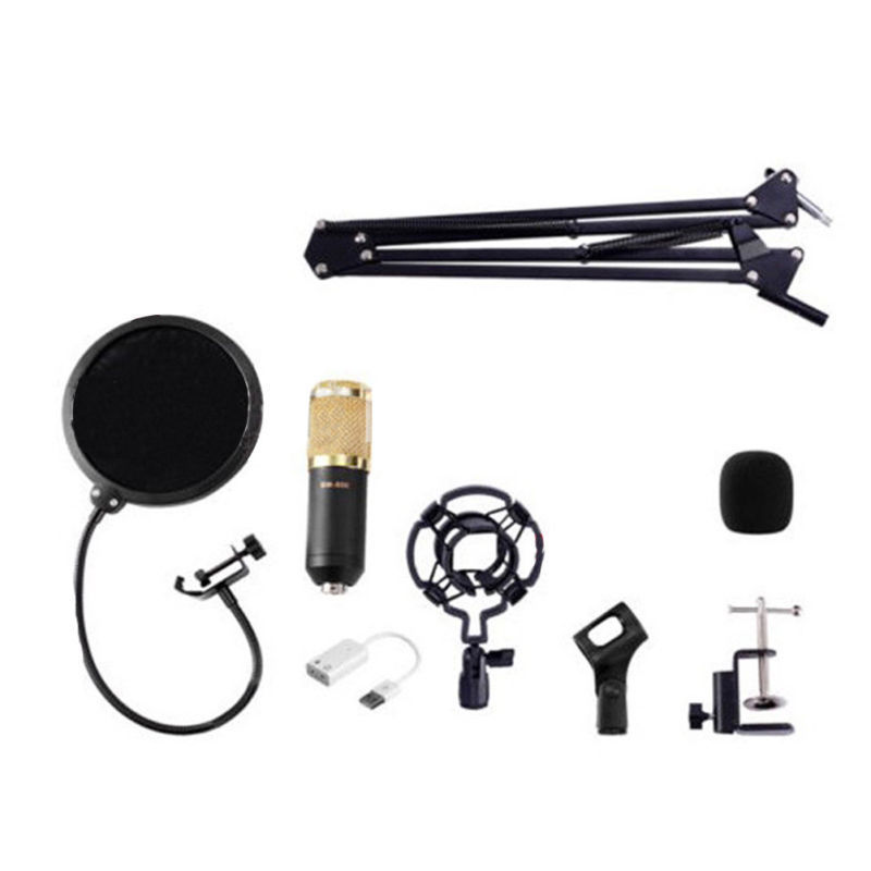 HFES BM800 Condenser Microphone Kit Studio Suspension Boom Scissor Arm Sound Card Black/Gold/White/Blue bm800 condenser microphone kit studio suspension boom scissor arm sound card 3 5mm wired vocal recording ktv karaoke microphone