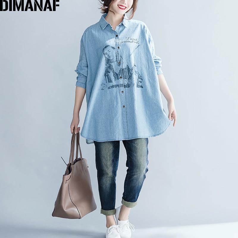DIMANAF Women Top Shirts Autumn Female Clothing Vintage Denim Blue Long Sleeve Loose Cotton Print Plus Size Cardigan Winter 2018 4