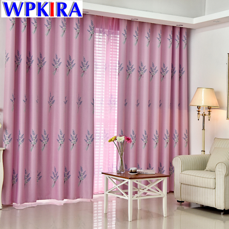 Pastoral Lavender Patterned Curtain Pink Green Blue Curtain Living ...