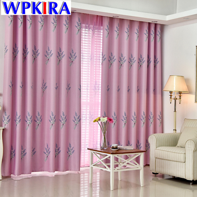 Pastoral Lavender Patterned Curtain Pink Green Blue Curtain Living Room  Sheer Window Tulle Decoration Pour Salon