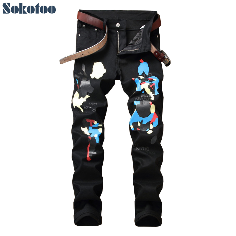 Sokotoo Mens fashion blue colored black printed jeans Casual slim straight painted stretch cotton pants