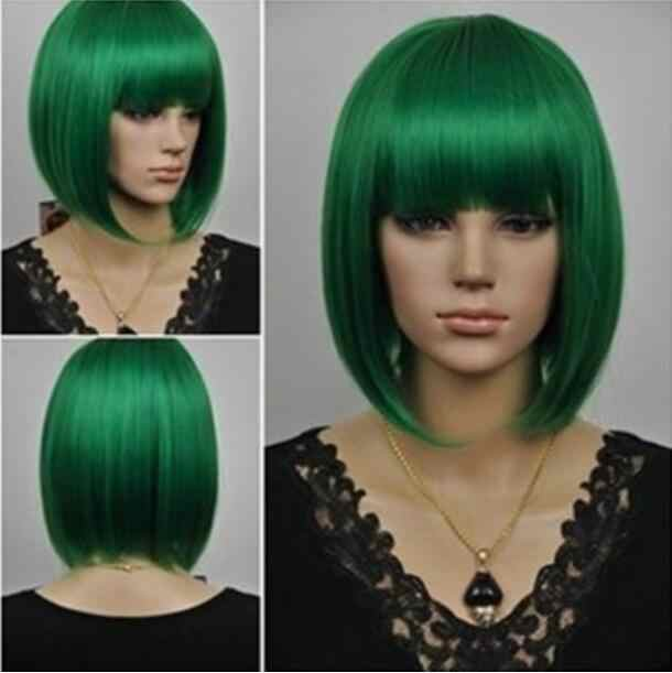 Wig Vogue short green hair woman wig Free Shipping