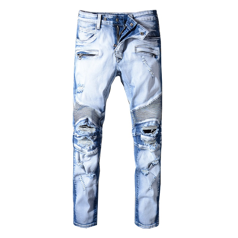 Sokotoo Men's Light Blue Holes Ripped Biker Jeans For Motorcycle Plus Size Slim Fit Distressed Stretch Denim Pants Trousers