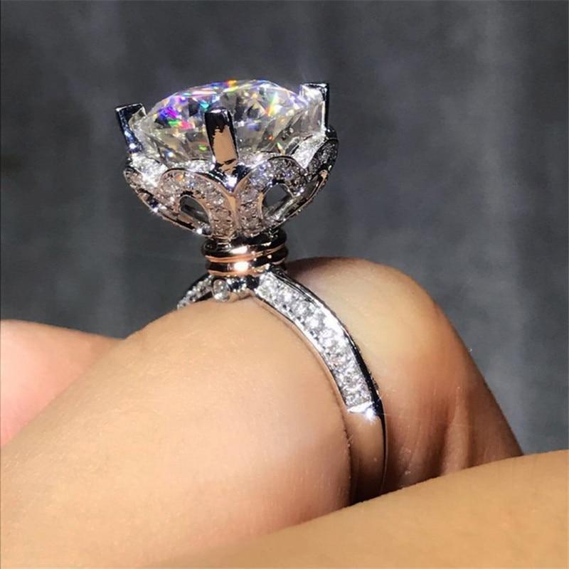 Coeur amour 100% Soild 925 Sterling Argent anneau 1ct Sona 5A zircon Pierre cz Engagement Band Anneau De Mariage pour femmes hommes Bijoux