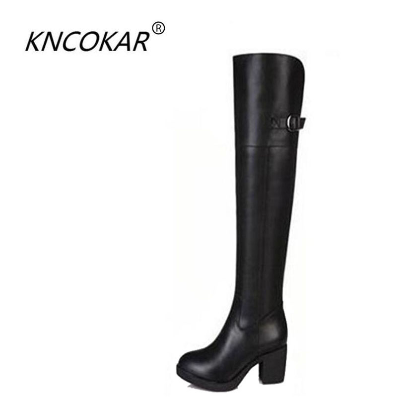 The new 2017 high quality fashion show high boots shoes  Middle heel thick heel side zipper single  boots free shippingThe new 2017 high quality fashion show high boots shoes  Middle heel thick heel side zipper single  boots free shipping